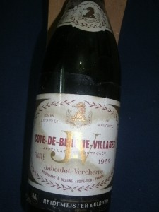 1969 Vintage Wine From Burgundy Cote De Beaune