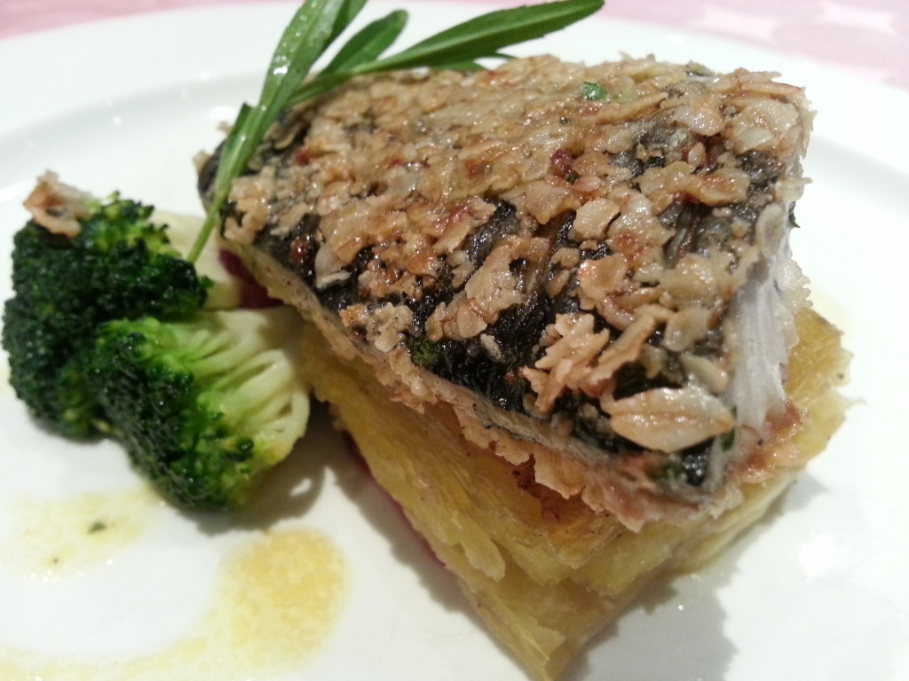 Oat Crusted Mackerel Fillet with Potato Pave at Yats Restaurant in Clark Philippines
