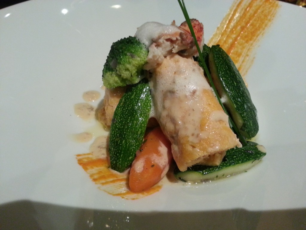 Homemade Lobster Sausage, Garden Vegetables , Corail Essence , Lavender Emulsion at YATS Restaurant Clark Philippines