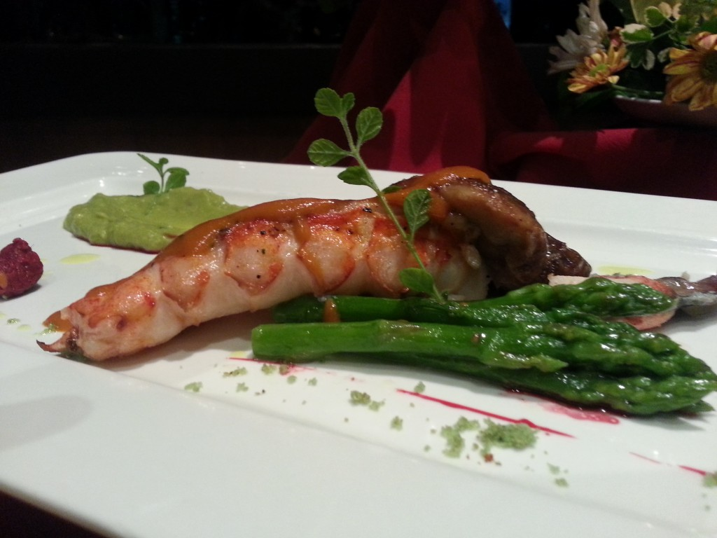 Roasted Lobster with Raspberry, Avocado coulis, Asparagus and Homardine Sauce at YATS Restaurant